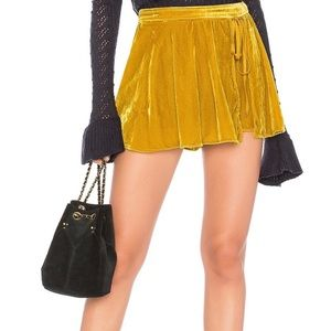Free People Dance The Night Away Skort Yellow Gold